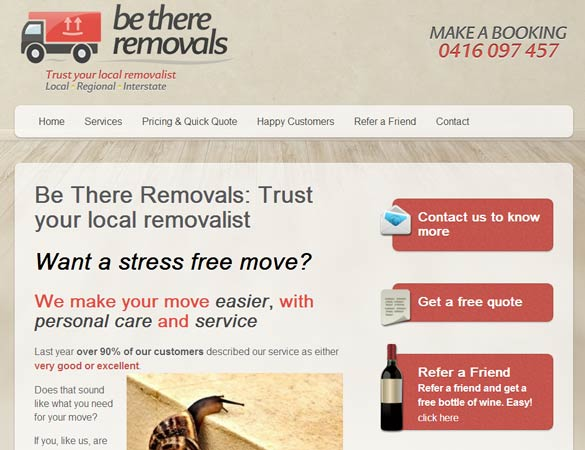Be There Removals homepage