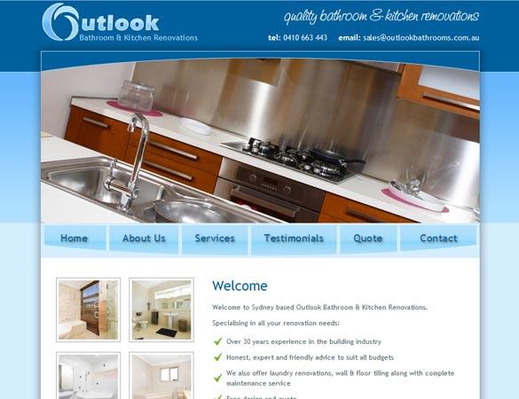 Outlook Bathrooms homepage screenshot